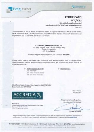 Cucciari Arredamenti Certificato Frigorista